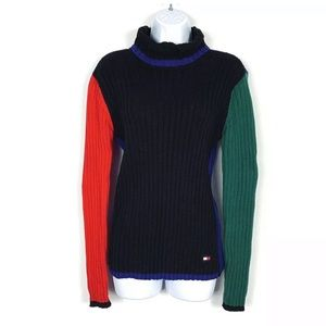 Tommy Hilfiger Sweater Color Block Turtleneck 90s